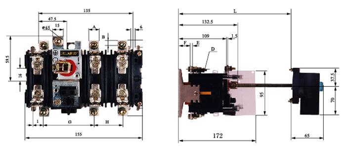 开关采用全封闭式结构,以保证提高工作可靠性及性能的稳定;具有独特的滚动插入式触头系统。每相都有两组这种双断点的触头系统,两组触头系统或是串联、或是并联,就可满足电流大小不同的电路及不同工作类别的要求。触头系统使电流分别从几个滚柱通过,其结果使得每个滚柱所受到的电动反力大大减小。在运动过程中,滚柱与静触头的接触既有滚动又有滑动磨擦,这样能有效地避免发生熔焊。操作机构有储能弹簧,因此动触头组的运动速度与操作力的大小、操作速度无关。操动器由装在面板上手柄、与手柄啮合的驱动连轴节、延伸轴、轴连轴节及驱动轴组成
